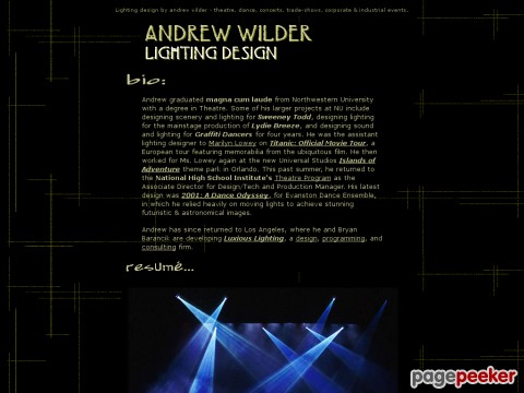 Andrew Wilder, Lighting Design